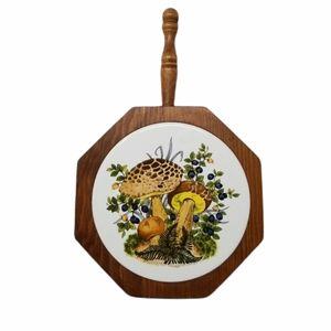 Mushroom Boho Vtg Wood Ceramic Realistic Trivet